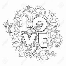 Malvorlagen Liebe Royale Blume Hintergrund Mit Wort Liebe Skizzieren
