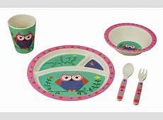 Owl Dinnerware Set for Kids from Bamboo Studio, 5 pieces
