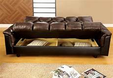 Leather Futon Sofa 3d Image by Bowie Brown Leather Like Futon Storage Sofa From Furniture