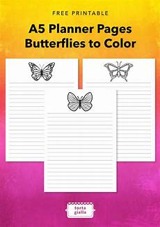 Planner Pages Free Printable A5 Planner Pages Butterflies To Color