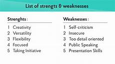 A List Of Strengths And Weaknesses 2019 Strengths Amp Weaknesses For Job Interviews Best Answers