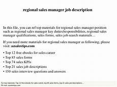 Regional Sales Director Job Description Regional Sales Manager