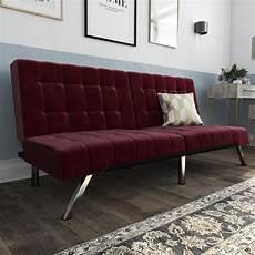 dhp emily convertible tufted futon sofa burgundy velvet