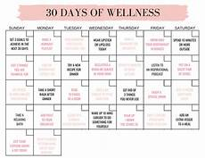 30 Day Calendar 30 Days Of Wellness Workout Accountability For