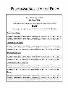 Vehicle Purchase Agreement Form Printable Purchase Agreement Forms Free Word Templates