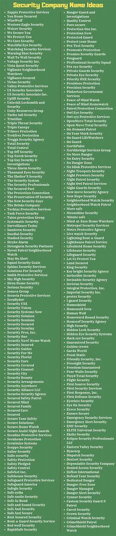 Security Companies Name 260 Security Company Name Suggestions Enlightening Words