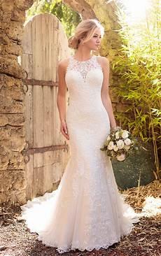 lace wedding dress with halter neckline essense of australia