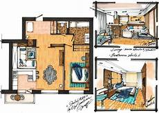 project of the apartment 70m2 sketch plan and 2