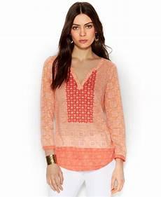 quarter sleeve shirts for split lyst lucky brand three quarter sleeve split neck top in pink