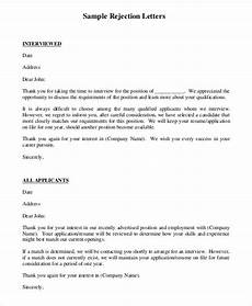 Rejection Letter Template 7 Rejection Letter Templates 7 Free Sample Example