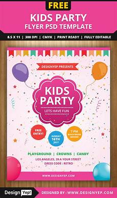 Free Party Flyer Template Free Kids Party Flyer Psd Template On Behance