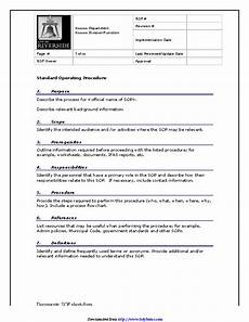 Standard Operating Procedures Template Word Standard Operating Procedures Templates Danetteforda