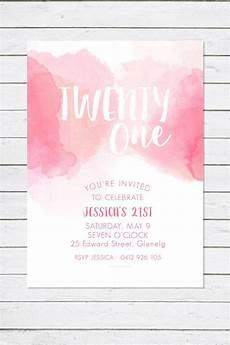 21 Bday Invites Birthday Invitation Pretty In Pink Watercolour Twenty