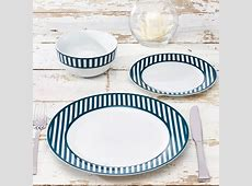 Nautical Collection 12 Piece Porcelain Striped Dinnerware
