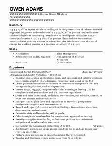 Resume For Customs And Border Protection Officer Us Customs And Border Protection Customs And Border