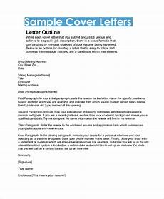 Outline Of Cover Letter Free 8 Sample Cover Letter Formats In Pdf