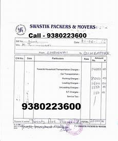 Movers And Packers Bill 9380223600 100 Original Gst Packers Movers Bill For Claim