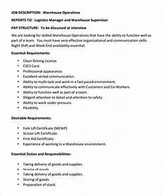 Warehouse Manager Job Description Free 10 Sample Warehouse Job Description Templates In Pdf