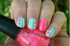 Light Pink And Green Nails Nails By Adrienne Notd Mint Green With White Stripes