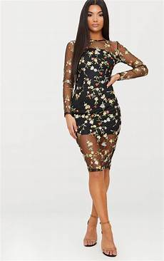ireenah black embroidered floral sheer lace midi dress