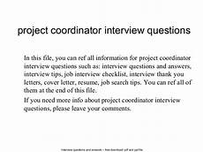Project Coordinator Sample Interview Questions Project Coordinator Interview Questions