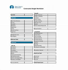 Home Construction Budget Template 10 Construction Budget Templates Free Sample Example