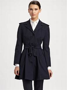 prada coats for lyst prada flared belted trench coat in blue