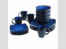 Blue Square Dinnerware Set Dining Plates Dishes Bowls 32