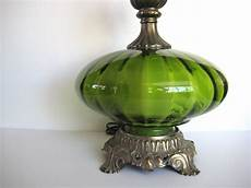 Light Green Vintage Glassware Vintage Green Table Lamp Green Glass Lamp Hollywood Regency