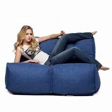 2 seater blue sofa designer bean bag blue fabric