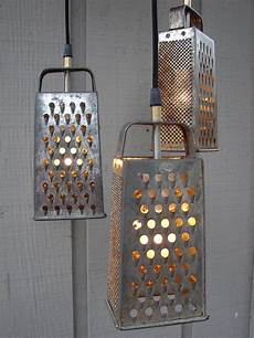 Cheese Grater Kitchen Lights Upcycled Grater And Colander Kitchen Pendant Light