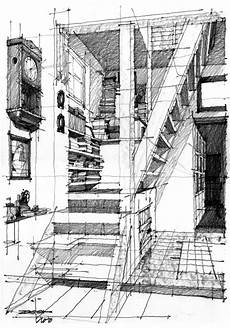 Architecture Design Drawing Techniques This Interior Sketch Consists Of Shadow Castings Which Is