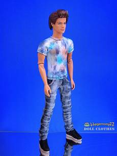 ken doll clothes ken doll in after painting t shirt and washed worn blue