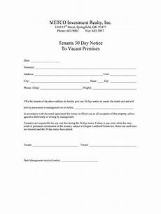 Printable 30 Day Notice To Landlord 30 Day Notice To Vacate Fill Online Printable Fillable