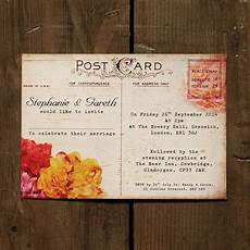 Birthday Invitation Postcards Floral Vintage Postcard Wedding Invitation By Feel Good