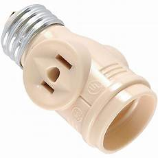 Outdoor Light Bulb Outlet Adapter Ge 2 Outlet Socket Adapter Beige Or Cream 54178 The