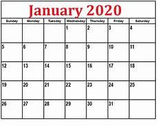 January Editable Calendar 2020 Blank January 2020 Calendar Editable Template