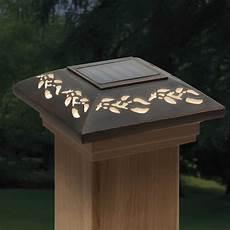 Trex Deck Post Solar Lights Deckorators 4x4 Designer Solar Post Cap Leaf At Diy Home