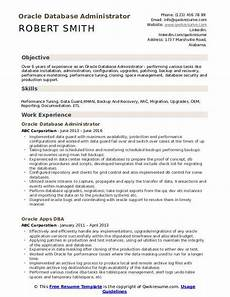 Database Management Resume Oracle Database Administrator Resume Samples Qwikresume