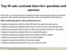 Sales Assistant Job Interview Top 10 Sales Assistant Interview Questions And Answers
