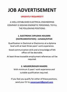 Job Advertisements Samples 01 06 2017 Job Advertisement 187 Ad Dicts Ads Zambia In