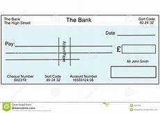 Pretend Cheque Blank British Cheque Stock Illustration Illustration Of