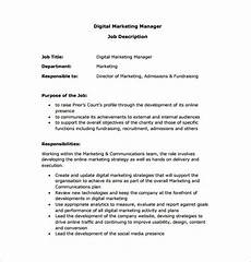 Advertising Executive Job Description Marketing Manager Job Description Template 9 Free Word