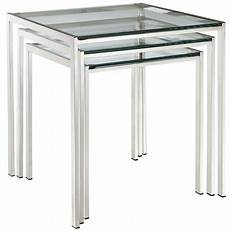 modern contemporary living room glass nesting table silver