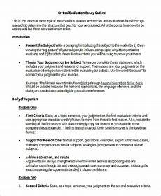 Evaluate Essay Example Evaluation Essay Example 7 Samples In Word Pdf