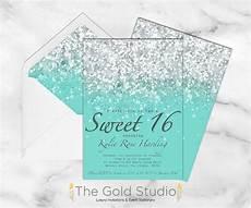 Light Blue Sweet 16 Invitations Sweet 16 Invitation Teal Green Blue Glitter Sweet