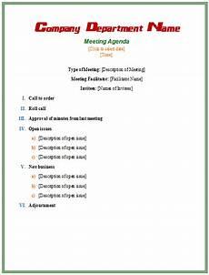 Informal Meeting Agenda Meeting Agenda Template Microsoft Word Templates