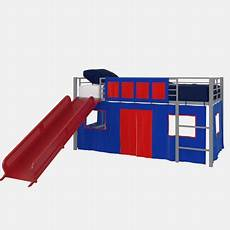 dhp junior silver loft bed with slide and blue curtain