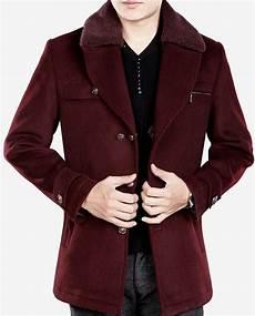 burgundy pea coats for burgundy fur collar luxury warm wool pea coat