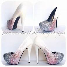 Light Pink Sparkly Heels White Glitter Ombre High Heels Pink Silver Fade Pumps